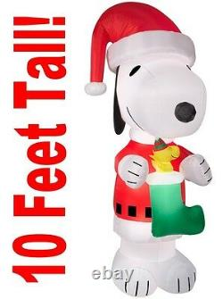 10 Ft Gemmy Snoopy Peanuts Christmas LED Lighted Airblown Inflatable Yard Decor