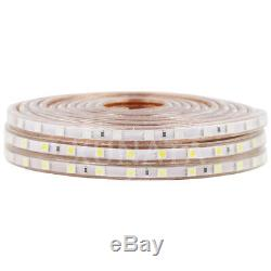 110V 1m100m 5050 LED Strip Light Flex Wire Rope+US Power Plug +Clips Waterproof