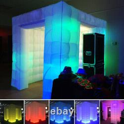 110V Double 2 Door Inflatable LED Light Photo Booth Tent Party Christmas Wedding