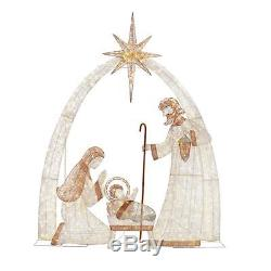 120 in. Giant Christmas Nativity Scene Outdoor Decoration Set with 440 LED Lights