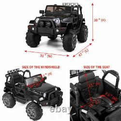 12V Kids Ride on Cars Electric Battery LED Lights Remote Control 3 Speed Black