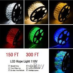 150' 300' Connectable LED Rope Light In/Outdoor Home Party Christmas Light 110V