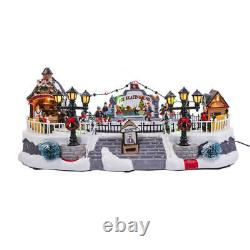 15 Animated Musical Ice Skating Rink Fun Christmas Village Lighted LED Building