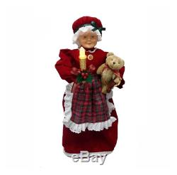 24 Animated Red Mrs. Claus with LED Lighted Candle Christmas