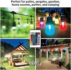 24ft Heavy Duty Outdoor Patio String Lights 12 Bulbs Waterproof Remote Control