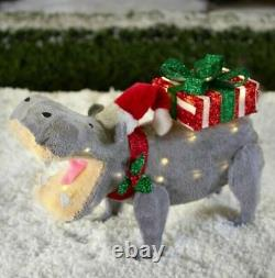 2 FT Christmas lighted tinsel fabric Hippo carrying gift box yard decor LED