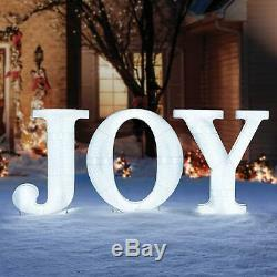 32 Tall Christmas Holiday LED Lighted Outdoor JOY Sign Yard Decor COOL WHITE