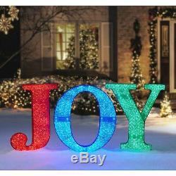 32 Tall Christmas Holiday LED Lighted Outdoor JOY Sign Yard Decor MULTI-COLOR