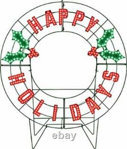 40' Led Lighted Christmas Outdoor Happy Holidays Yard Sign Decor