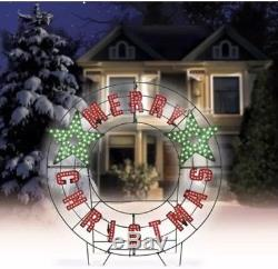 40 in LED Light Merry Christmas Sign Message Wreath Outdoor Yard Christmas Decor