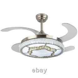 42'' Crystal Invisible Fan Ceiling Light LED Light Remote Control Chandelier New