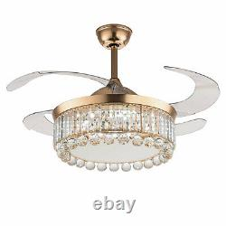 42 Crystal LED Chandelier Invisible Ceiling Fan Light with Remote Control Gold