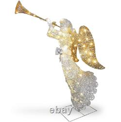 48 Silver Sisal Angel With Trumpet LED Lighted Sculpture Christmas Yard Decor