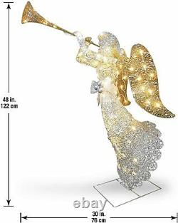4Ft Led Lights Holy Angel Outdoor Christmas Yard Decoration Glitter Glow Display