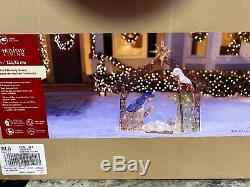 4 Christmas Lighted Outdoor Yard Nativity Scene Tinsel Sculpture Decoration LED