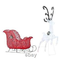 52 Christmas Outdoor Decoration Lighted LED Reindeer and Sleigh Yard Sculpture