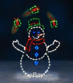 5' Animated LED Lighted JUGGLING SNOWMAN GIFTS OUTDOOR CHRISTMAS Decor PRE-LIT