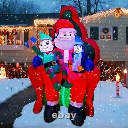 6Ft Inflatable Christmas Santa with Elf and Penguin With Music LED Light Up
