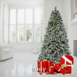 6ft 7.5ft Artificial Pre-Lit Flocked Pencil Christmas Tree with250 UL LED Lights