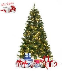 6ft/7ft Pre-Lit Dense PVC Christmas Tree Spruce Hinged 460/600 LED Lights&Stand