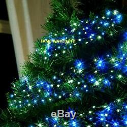 720 WHITE BLUE LED Cluster Lights Indoor Outdoor Christmas Tree House Decoration
