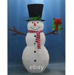 74 White LED Lighted Fluffy Glitter Snowman with Present Outdoor Christmas