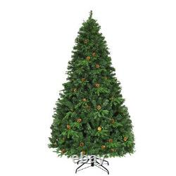 7Ft Pre-Lit Artificial Christmas Tree Hinged with 460 LED Lights Home Decoration