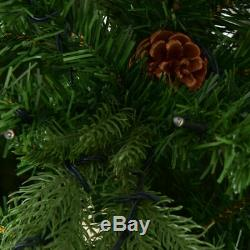 7Ft Pre-Lit Artificial Christmas Tree Hinged with 460 LED Lights & Pine Cones