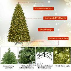 7Ft Pre-Lit Decor PVC Christmas Tree Spruce Hinged with700 LED Lights & Stand