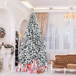 7.5FT Pre-lit Fiber Optic Snow Flocked Artificial Christmas Tree with550LED Light