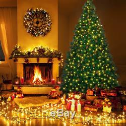 7.5Ft Pre-lit Artificial Christmas Tree Hinged withPine Cones & 750 LED Lights