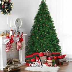 7.5Ft Pre-lit Artificial Christmas Tree Hinged withPine Cones&750 LED Lights Green