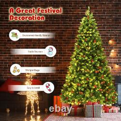 7.5Ft Pre-lit Hinged Christmas Tree with Pine Cones Red Berries and 550 LED Lights