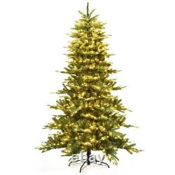 7.5 ft Pre-Lit Aspen Fir Hinged Artificial Christmas Tree with 700 LED Lights LF
