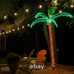 7' Deluxe Tropical Luau Palm Tree Spiral LED Rope Light Holographic Christmas