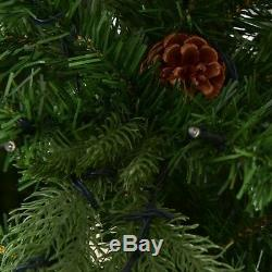 7 Ft Pre-Lit Artificial Christmas Tree LED Lights Pine Cones Lighted Decoration