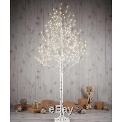 7' Twinkling 280 Warm White LED Lights Birch Tree Christmas Decor Indoor Outdoor