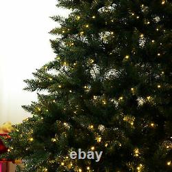 7ft Pre-Lit Artificial Christmas Tree Spruce Hinged 700 Leds Lights Decorations