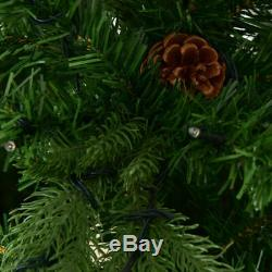 8Ft Pre-Lit Artificial Christmas Tree Hinged with 600 LED Lights Home Decoration