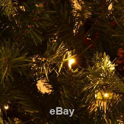 8Ft Pre-Lit Artificial Christmas Tree Hinged with 600 LED Lights & Pine Cones