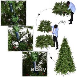 8Ft Pre-Lit Dense PVC Christmas Tree Spruce Hinged with880 LED Lights Decoration