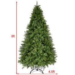 8Ft Pre-Lit Dense PVC Christmas Tree Spruce Hinged with880 LED Lights & Stand