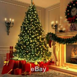 8Ft Pre-Lit Dense PVC Christmas Tree Spruce Hinged with 320 LED Lights & Stand