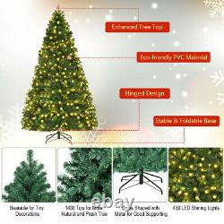 8Ft Pre-Lit Hinged PVC Artificial Christmas Tree with 430 LED Lights & Stand Green