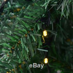 8Ft Pre-Lit PVC Artificial Christmas Tree Hinged with 430 LED Lights & Stand Green