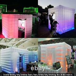 8.2FT 2 Doors Inflatable LED Light Photo Booth Air Tent Party Christmas Wedding