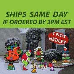 8 Pc Grinch's Medley Collection-Stealing Christmas Lights Yard Art Decoration