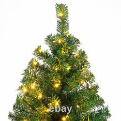 9Ft Pre-Lit PVC Artificial Christmas Tree Hinged with 700 LED Lights & Stand Home