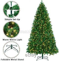 9Ft Pre-lit Artificial Hinged Christmas Tree With 8 Modes 550 LED Lights & Stand