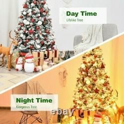 9 Ft PRE- LIT ARTIFICIAL SNOW FROSTED CHRISTMAS TREE HINGED with 540 LED LIGHTS